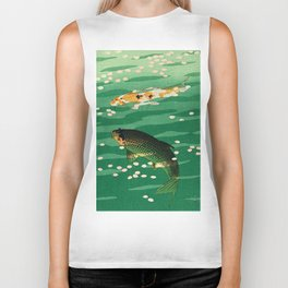 Vintage Japanese Woodblock Print Asian Art Koi Pond Fish Turquoise Green Water Cherry Blossom Biker Tank