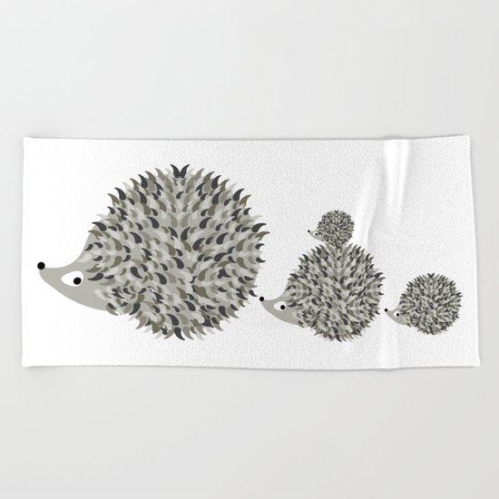 Hedgehogs family Beach Towel