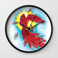 phoenix Wall Clocks featuring Phoenix by missfortunetattoo