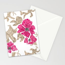 Pointillism. Flowers Stationery Cards