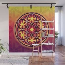 FLOWER OF LIFE batik style yellow red Wall Mural