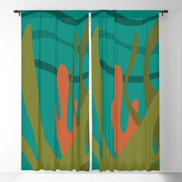 Oceanscape Teal - Undersea Ocean Abstract in Mid Century Modern Colors  Blackout Curtain