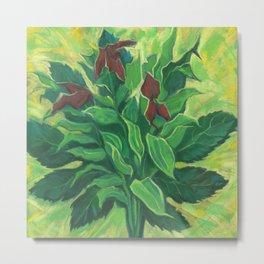 Aralia Leaf, Leaves and Orchids, Floral Pastel Metal Print