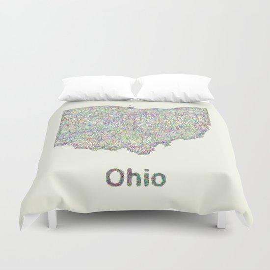 Ohio map Duvet Cover