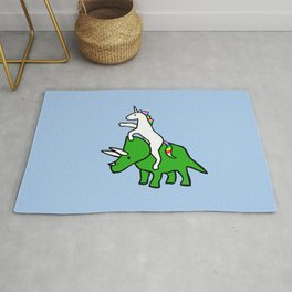 Unicorn Riding Triceratops Rug