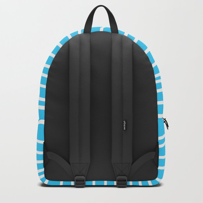 Simply small aqua and white handrawn stripes - horizontal - for your summer on #Society6 Backpack