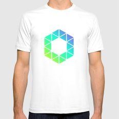 Tiny Triangles White Mens Fitted Tee MEDIUM