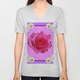 Lilac Color Shasta Daisies & Fuchsia Pink Rose Pattern Unisex V-Neck