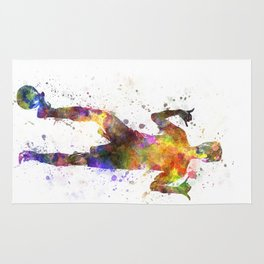 soccer football player young man saluting Rug