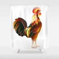 cock Shower Curtains featuring Cock-a-doodle-doo by Eric Bassika