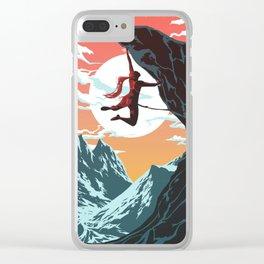 Rock Climbing Girl Vector Art Clear iPhone Case