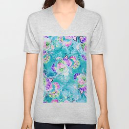 Turquoise blue floral bright spring summer boho illustration pattern Unisex V-Neck