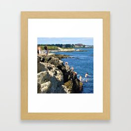 Jacob's Ladder - Newport Cliff Walk Cliff Diving, Rhode Island by Jeanpaul Ferro Framed Art Print