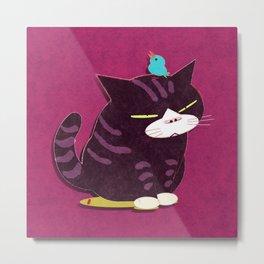 cat and bird Metal Print