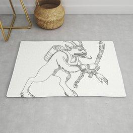 Krampus With Stick Doodle Art Rug