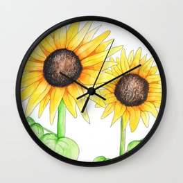 Sunflower Watercolor & ink Wall Clock
