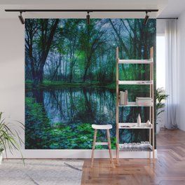Enchanted Forest Lake Green Blue Wall Mural