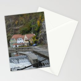 Colorful houses near a river Stationery Cards