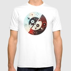 Ying-Yang Blue Version Mens Fitted Tee MEDIUM White