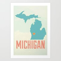 michigan Art Prints featuring Michigan by Zac Sturgeon