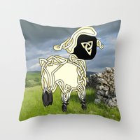 lamb Throw Pillows featuring Lamb by Knot Your World