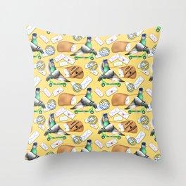Pigeons Express (Yellow Background) Throw Pillow