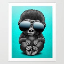 Cute Baby Gorilla Wearing Sunglasses Art Print
