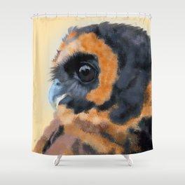 Brown-Blue Wood Owl Portrait Shower Curtain