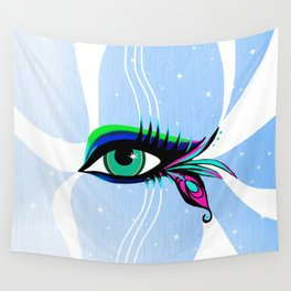 Rainbow Peacock Feather Eyelashes Eye Wall Tapestry