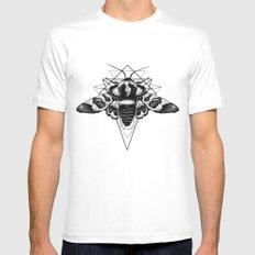 Geometric Moth Mens Fitted Tee White MEDIUM
