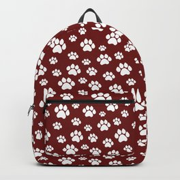 Puppy Prints on Maroon Backpack