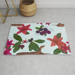 Red lily, snake and plum tree pattern Rug