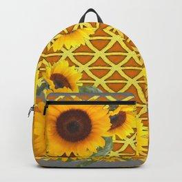 GOLDEN SUNFLOWERS  GREY ART PATTERN DESIGN Backpack