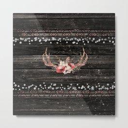 Glam Boho Chic Floral Antlers & Rustic Wood Metal Print