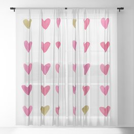 Watercolor Hearts - Pink, Red and Gold Sheer Curtain