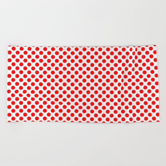 Polka Dot Red and White Pattern Beach Towel