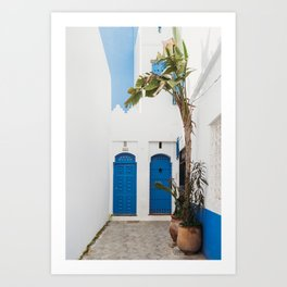 White and blue moroccan street and doors with banana tree Art Print