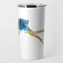 Man scuba diver 01 in watercolor Travel Mug