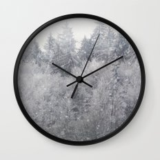 Snowing Trees Wall Clock