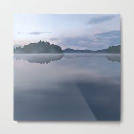Foggy lake landscape Metal Print