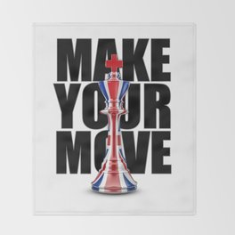 Make Your Move UK / 3D render of chess king with British flag Throw Blanket