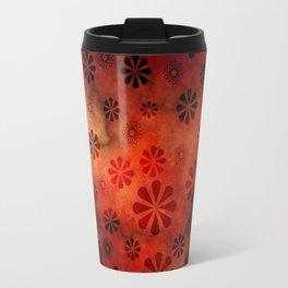 Burnt Orange Flowers Pattern Travel Mug