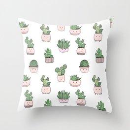 Succulent cactus cute pattern Throw Pillow