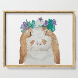 Spring Queen Bunny Rabbit in Flower Crown Serving Tray