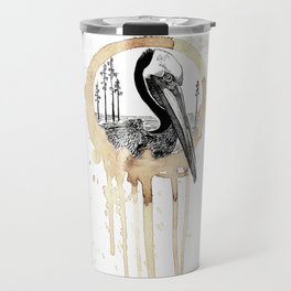 Coffee Stained Brown Pelican-Louisiana Series Travel Mug