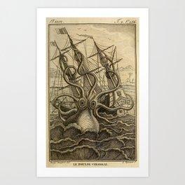 Vintage Kraken Giant Squid Sea Monster Ship Art Print