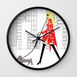 Red Jacket & the City Fashion Illustration Wall Clock