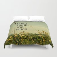 text Duvet Covers featuring Travel Like A Bird Without a Care by Olivia Joy StClaire