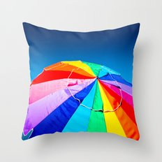 Rainbow Beach Umbrella Throw Pillow