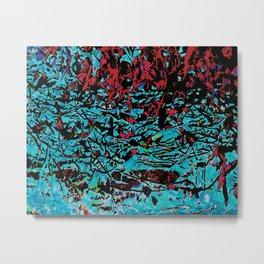 Flora Celeste Tourquoise Leaves Metal Print